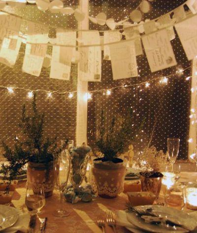 party decor - DIY postcard garland, lace on pots, & strung lights overhead.
