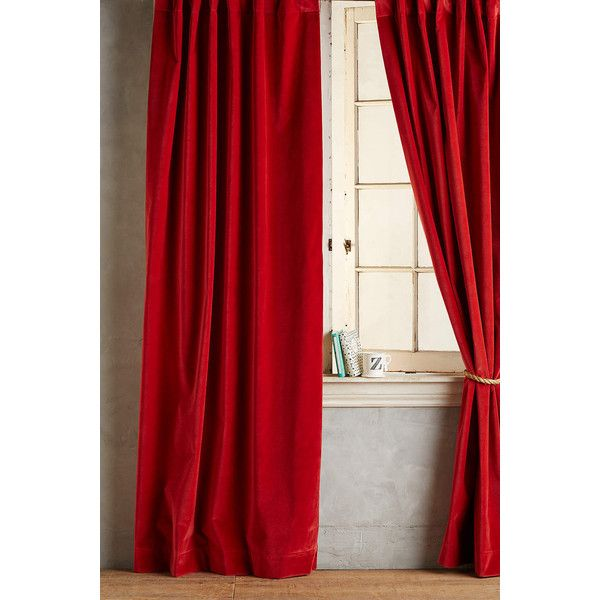 Anthropologie Matte Velvet Curtain (58 KWD) ❤ liked on Polyvore featuring home, home decor, window treatments, curtains, red, velvet drapery, anthropologie curtains, velvet curtains, velvet window treatments and red curtains