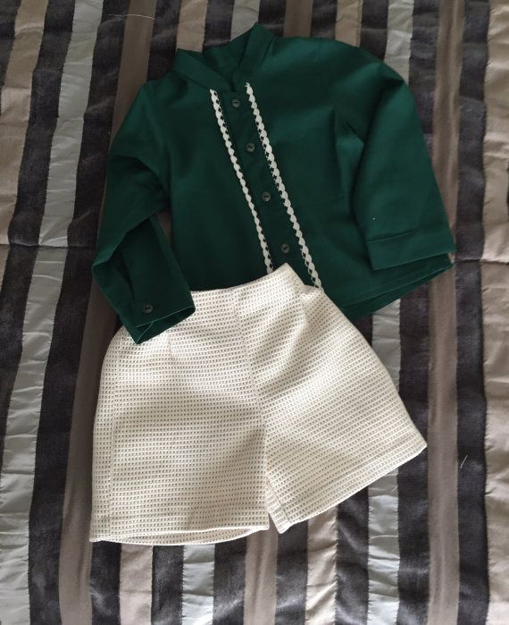 Conjunto bebé otoño invierno pantalón camisa verde  por pitufos