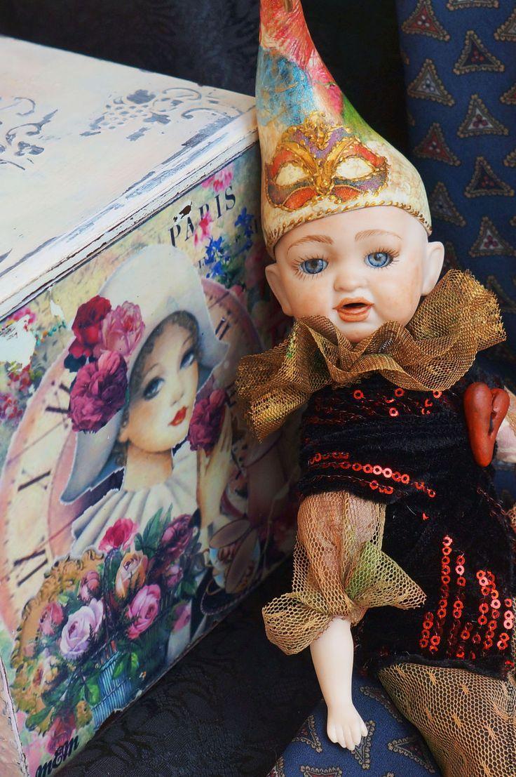 Купить Золотой ребенок, Арлекин - золотой, коллекционная кукла, фарфоровая кукла, антикварная кукла