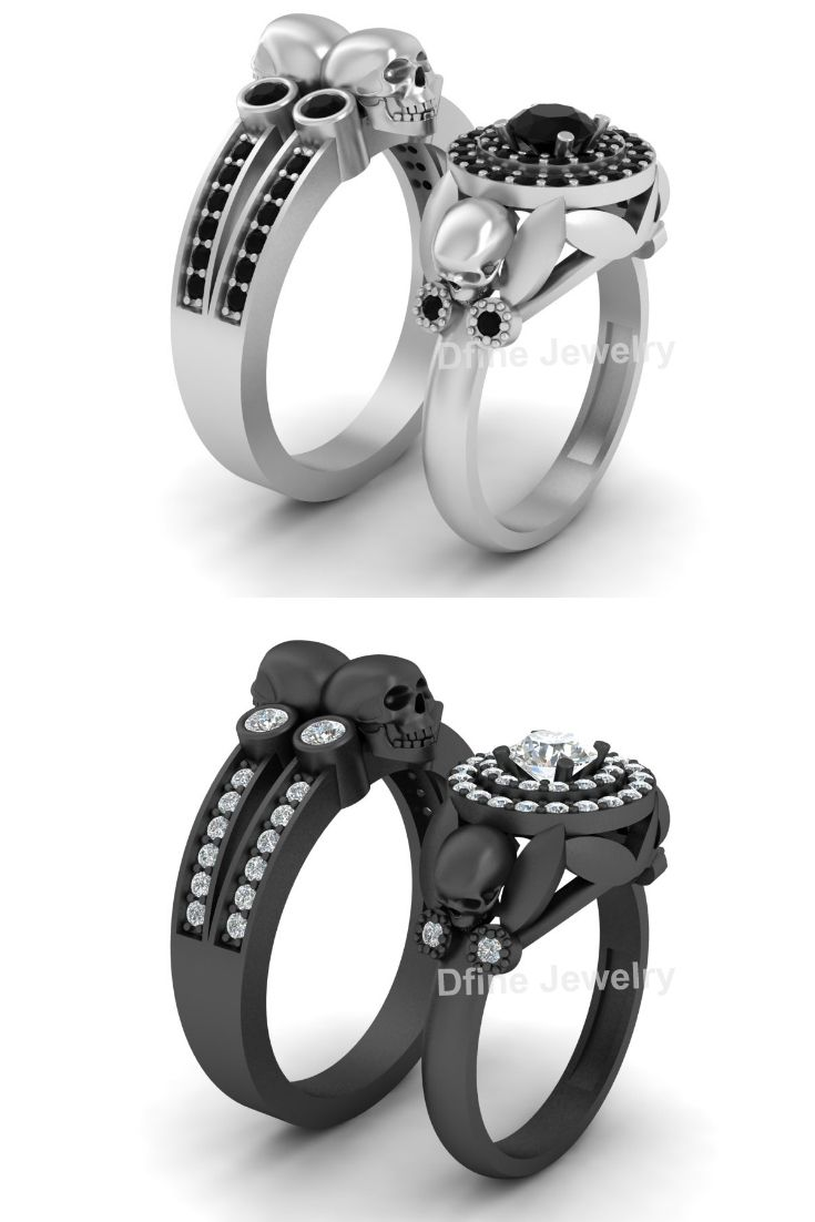 Skull Couple Engagement Ring Set Dfine Jewelry Store Skull Wedding Ring Wedding Rings Engagement Rings Couple