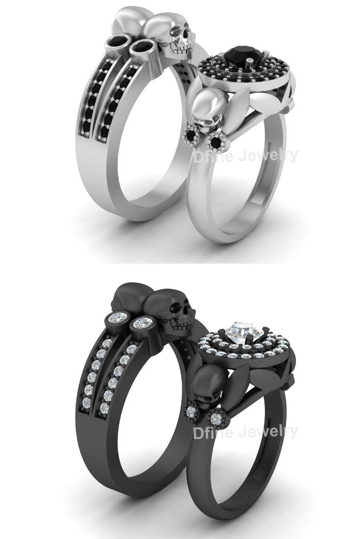 Onyx Skull Wedding Ring Set Petal Art Nouveau Skull Couple Rings Silver Skull Wedding Ring Wedding Rings Skull Engagement Ring