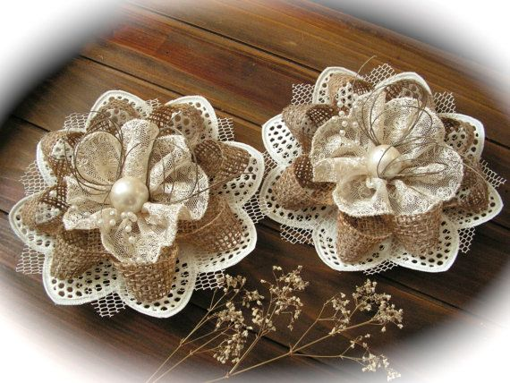 Rustic Shabby Chic Burlap And Ivory  Lace Flowers  by Mydaisy2000, $15.00