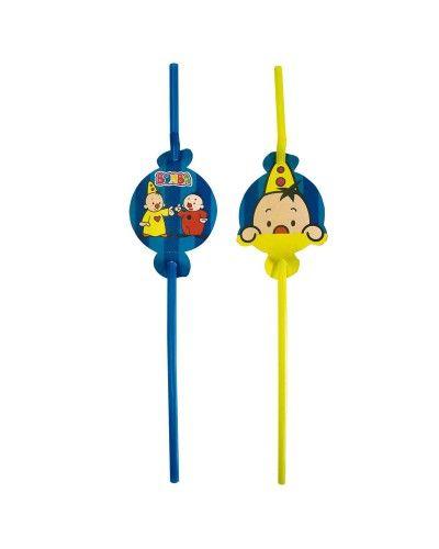 Gele en Blauwe drink rietjes. Aan de bovenkant zit een plaatje van Bumba het clowntje.