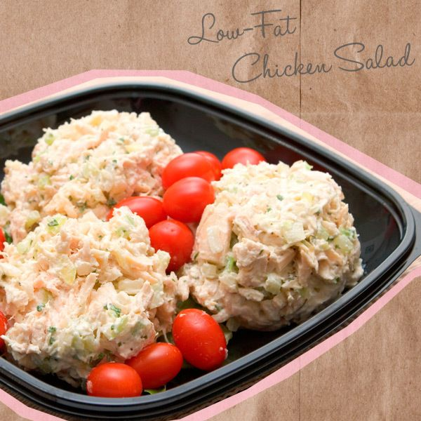 Low-Fat Chicken Salad  Buy a prepared chicken breast at your local grocery, or cook your own the night before. Shred or cube the chicken and add up to 2 tablespoons of light mayonnaise, some chopped celery, and salt and pepper to taste. Pair with two FiberRich Plus crackers, and you'll have a healthy take on a simple lunch.