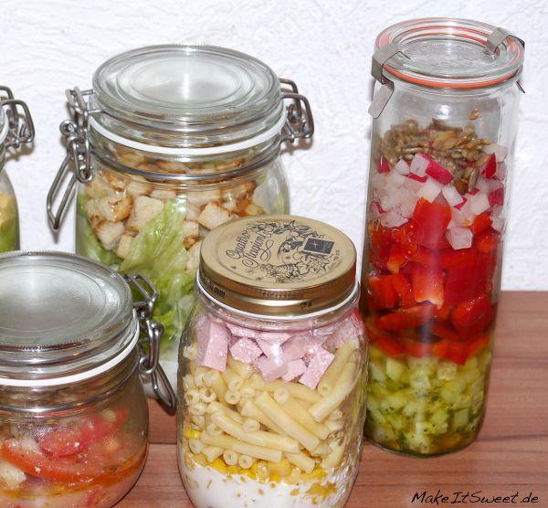 Salat im Glas vorbereiten Schichten Zubereiten Aufbewahren Zeit Erfahrung