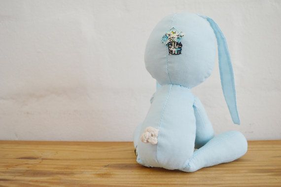 Floppie bunny with long ears, patches and a cotton tail. Handmade stuffed doll for sale on Etsy || by Vir Lief