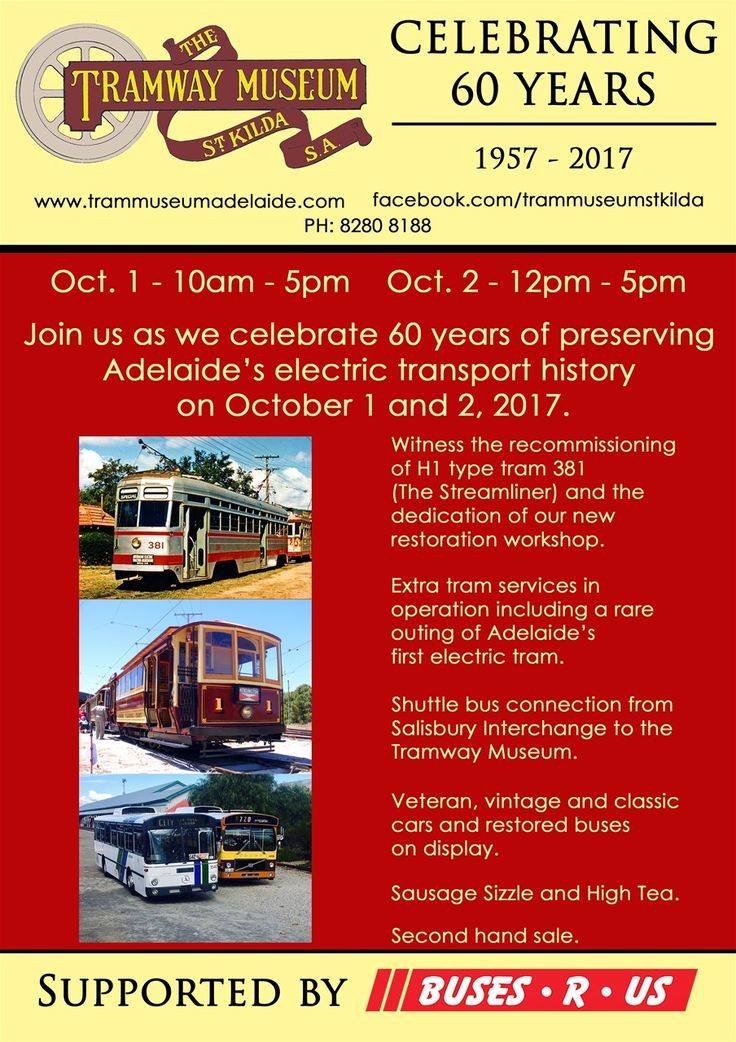 Join us at the Tramway Museum, St Kilda over the October long weekend as we celebrate 60 years  of preserving Adelaide's electric public transport history! This will be a big weekend with a number of special events organised including:- After an absence of over 15 years, H1 type tram 381 'The Stre...