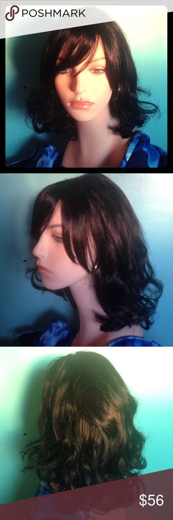 Brand new Brunette wig with red highlights New in package. Style is Serafina.dark brunette with dark red highlights. Accessories