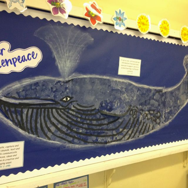 Unit study - Dear Greenpeace Resulted in this blue whale displayed on our classroom wall.