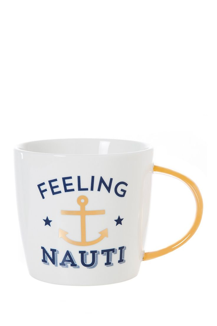Enjoy your favorite cup of tea or coffee in this charming nautical-themed mug, complete with stylish gold accents.