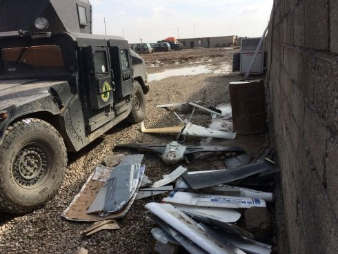 The remains of homemade Islamic State drones captured by Iraqi special forces in Mosul, Iraq, pictured on Monday, Jan. 30, 2017. (Seth Robson/Stars and Stripes)