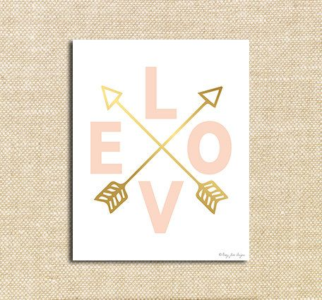 Pink Love and Gold Arrows Digital Printable Art| Instant Download Print for Wall Decor DIY Nursery Decoration or Gift | Happy Valentines Day...