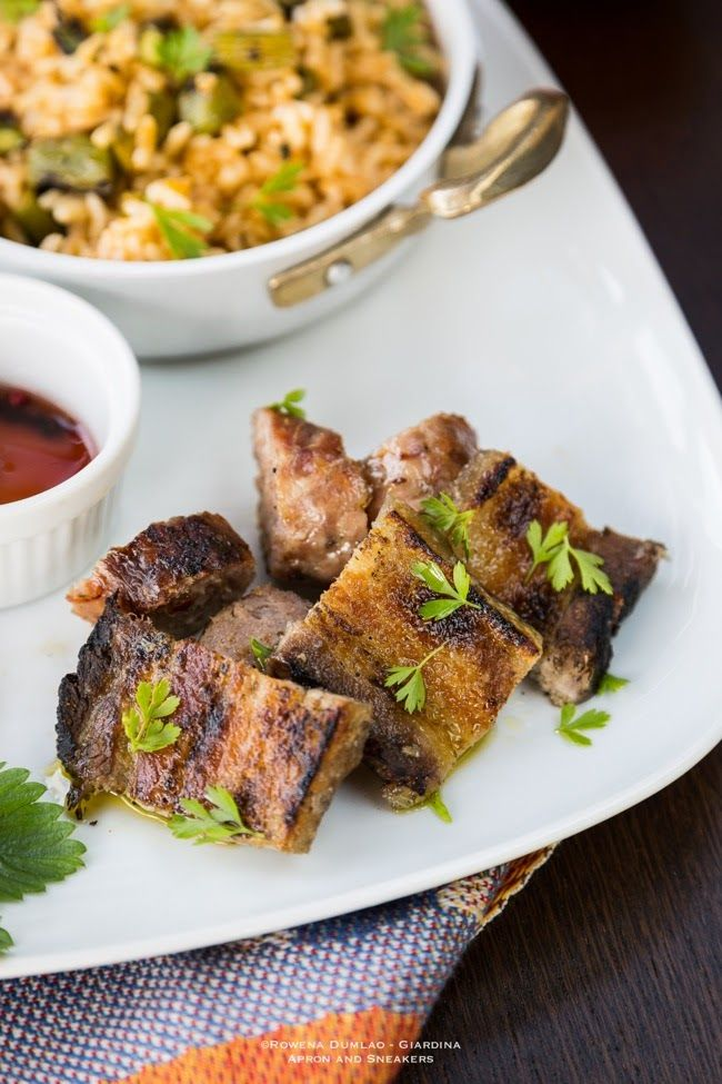 Grilled Pork Belly with Chicken, Asparagus & Harissa Fried Rice (mods ...