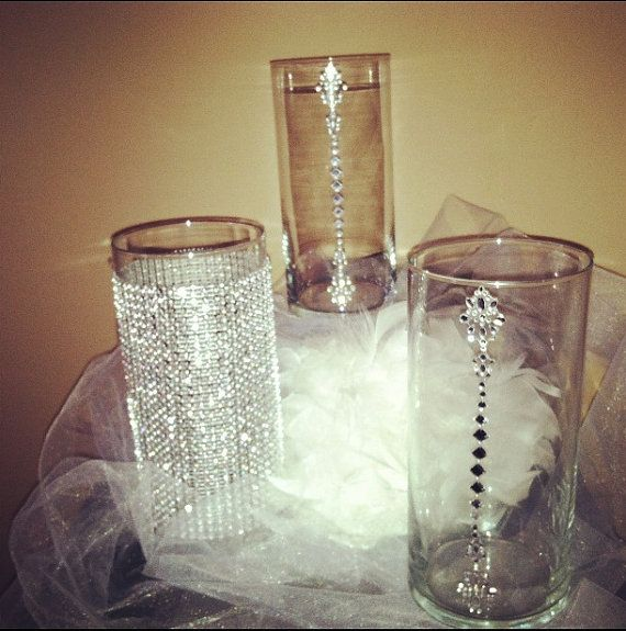centerpiece vases wedding bling glass vases by simplicatees2