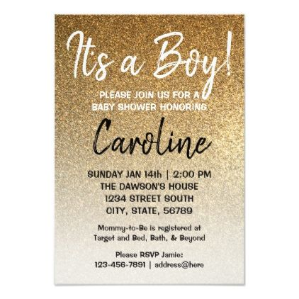 Boy baby shower invitation Gold faux glitter ombre - glitter glamour brilliance sparkle design idea diy elegant