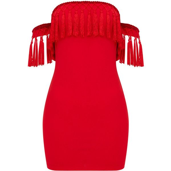 Red Bardot Arm Cuff Tassel Detail Bodycon Dress ($26) ❤ liked on Polyvore featuring dresses, tassel fringe dress, red dresses, bodycon dress, red bodycon dresses and tassel dress