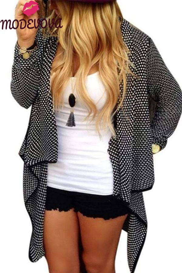 Fashion Business Loose Plaid Irregular Hem Long Sleeve Cardigan