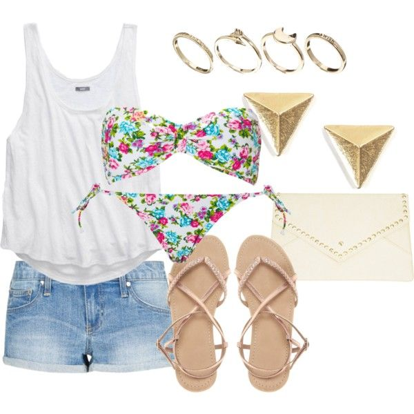 """""""Floral Bandeau Outfit"""" by nebulanights on Polyvore - Summer Outfit and Swimsuit"""
