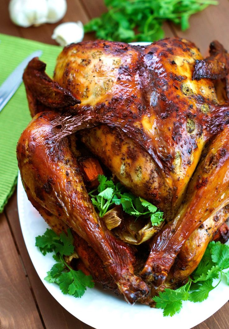 Latin-Style Turkey With Mojo and Sazón Achiote ~ Criollo-style turkey marinated with a homemade mojo and sazón achiote. The perfect turkey for your Thanksgiving dinner. #Turkey #Thansgiving