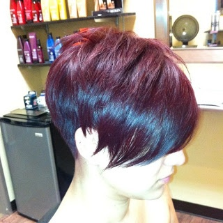 If you are growing out the front first to a transitional bob, you'll want to start with this long pixie.  Side view.