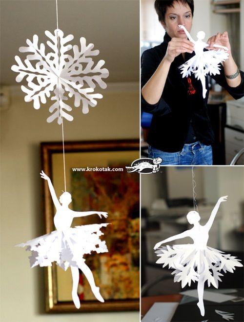 DIY Papier Schneeflocke Ballerinas für Raumdekoration