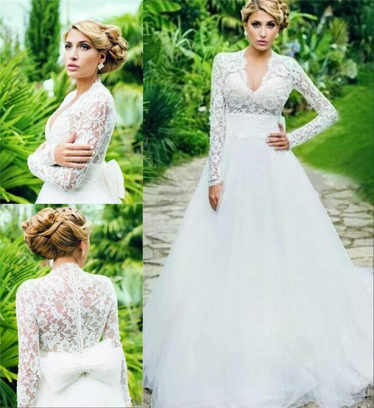 Charmig Vintage Lace Plus Size Wedding Dresses 2015 A Line Long Sleeves Arabic Muslim White Ivory Country Beach Gowns Bridal