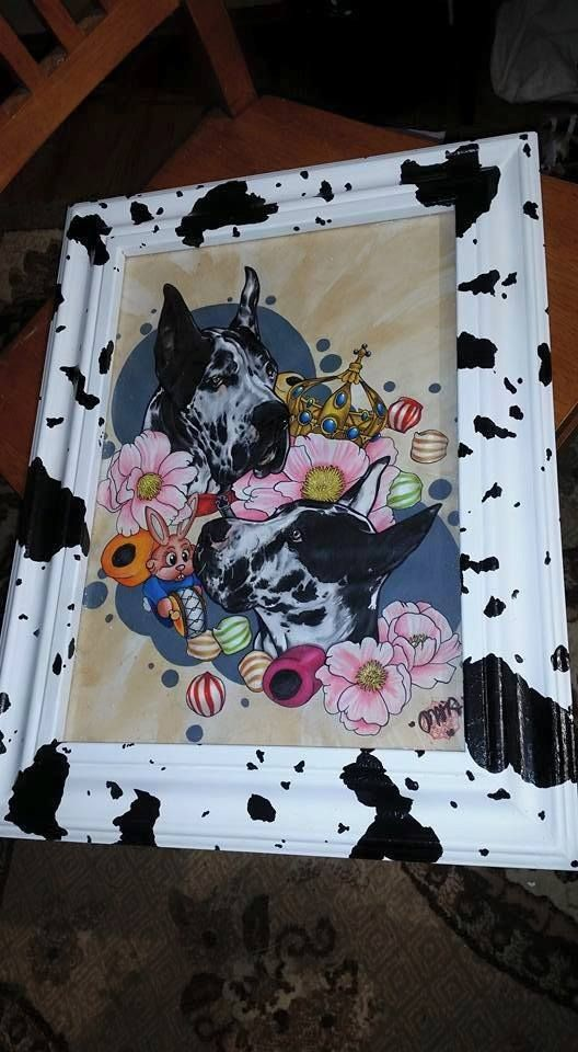 Custom made harlquin print, or cow print frame, out of baseboard.
