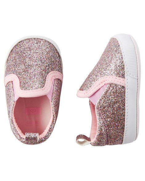 Baby Girl Carter's Glitter Slip-On Crib Shoes from Carters.com. Shop clothing…