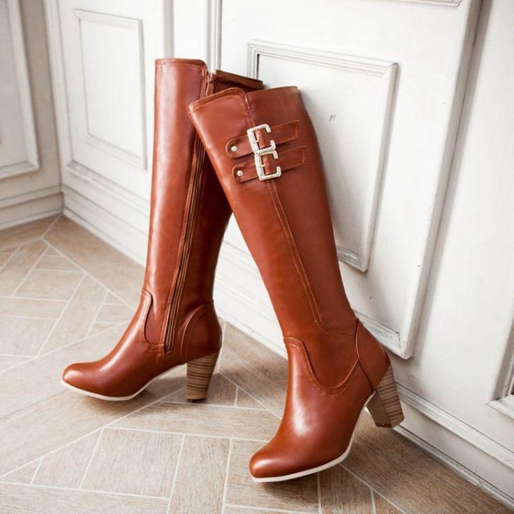 Pas cher Big Sie 34 46 longues dames à talons hauts chaussures chaudes  Style de l\u0027europe mode hiver moto bottes de fourrure chaude femmes bottes  de neige,