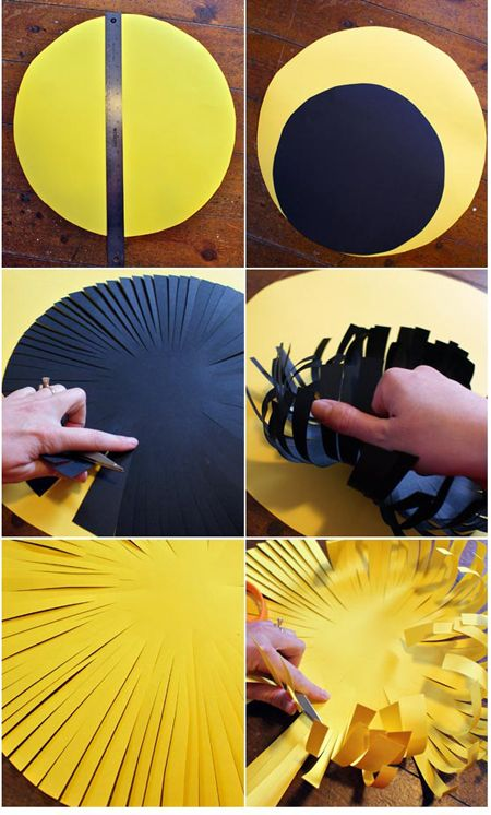 How to make huge flowers for your spring time Bulletin Boards. Awesome! cut out petals and fold accordion style, then put the above as the center.