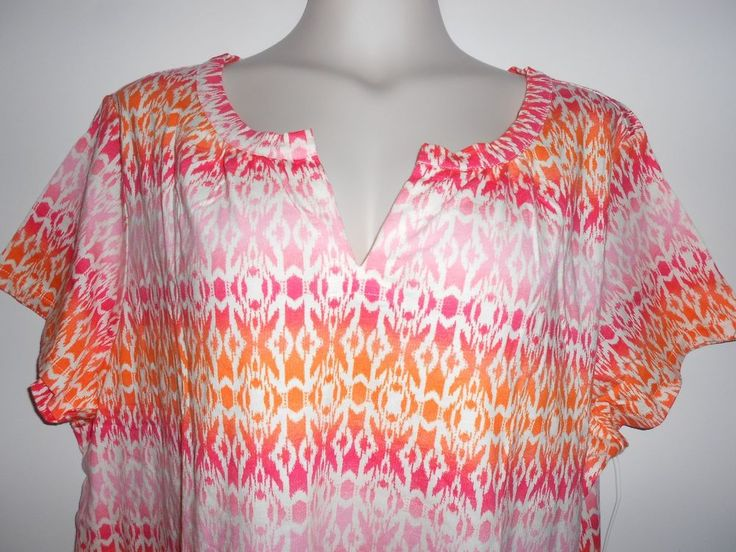 NWT~ST JOHNS BAY Light-Weight Multi Color Short Sleeve Top Women Plus 3X #stjohnsbay #Blouse #Casual