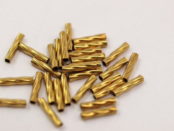 50 Pcs  Raw Brass Tube 10 x 2.2  mm hole 1.5 mm by Sevenhill, $3.50