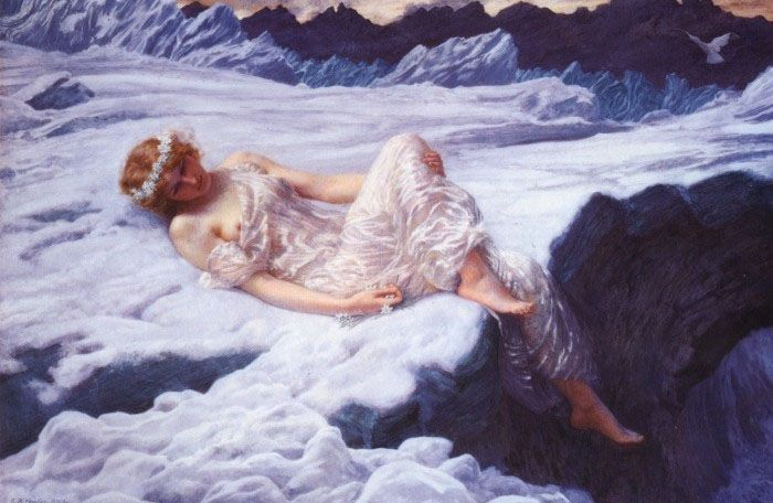 "Edward Robert Hughes ""Heart of Snow"" pre-raphaelite art"