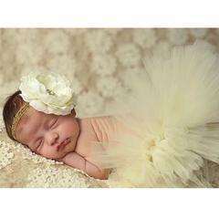 Baby Girl Tulle Tutu Skirt And Flower Headband Set For Newborn Photography Props - Beige