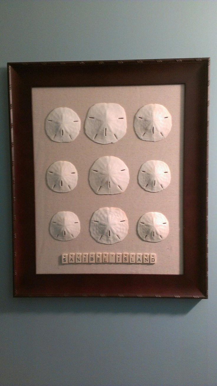 Homemade Memory Art - complete!  Sand dollars from a family trip are now on display to remind me of the early years of our family.