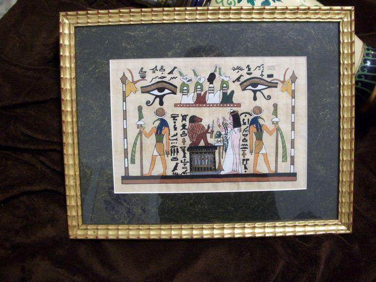 Egyptian Papyrus Painting , Genuine,Cairo,Egypt,Framed ,original art,Fine Art