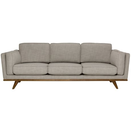 Freedom's beautiful Dahlia sofa features a mid-century design, including a solid timber plinth and tapered timber splayed legs. Dahlia is upholstered in a linen-blend fabric and is available from Freedom in store and online http://www.freedom.com.au/furniture/sofas/fabric-sofas-modulars/23490956/dahlia-3-seat-sofa-austria-shell/