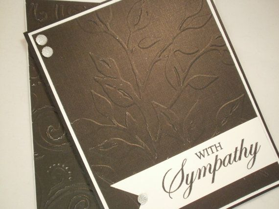 Black Embossed Handmade Sympathy Card by ComingUpCrafts