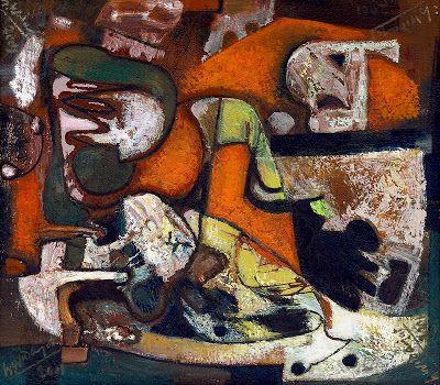 """""""Abstraksi Dekora (03)"""" by Widajat, Size: 60cm x 68cm, Medium: Oil on canvas, Year: 2001"""