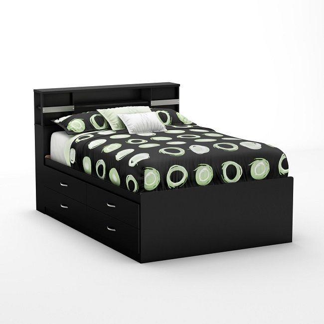Full Size Bed with Drawers Frame South Shore Platform Wood Slat Storage Bedroom #SoHo #Asian