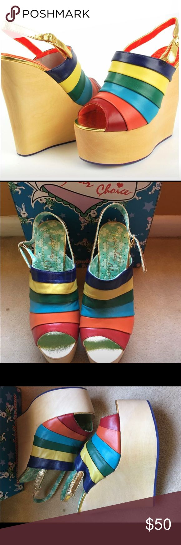 """{Anthro} Irregular Choice Chica Chola Slingback Irregular Choice Chica Chola Slingback Size 6.5, 8.5, 9, 10 available   Leather Synthetic sole Heel 4.5"""" Leather upper Retail $298  Brand new with shoebox Anthropologie Shoes Platforms"""
