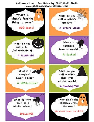 free halloween joke printables for lunch box notes, etc