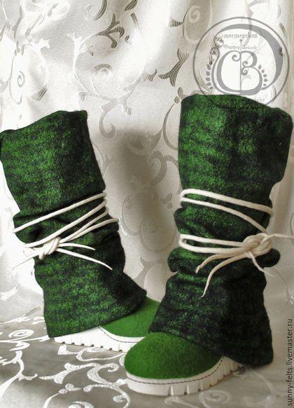 """Обувь ручной работы. Ярмарка Мастеров - ручная работа. Купить Сапоги валяные """"Зеленый ирландский мох"""". Handmade. Тёмно-зелёный"""