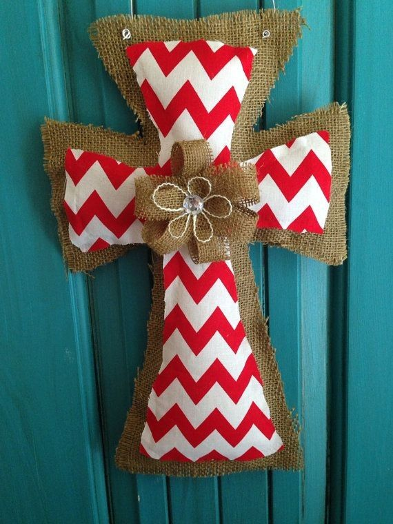 Diy Red Chevron Burlap Crosses Door Hanger With Gem