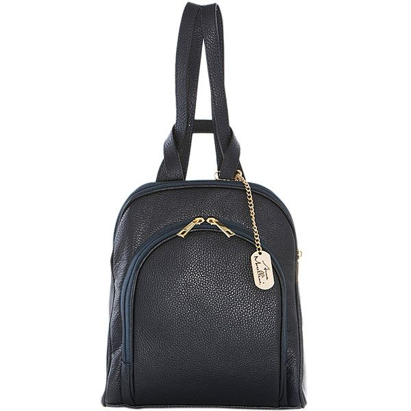 Anna Morellini Navy Leather Backpack ($95) ❤ liked on Polyvore featuring bags, backpacks, real leather backpack, navy blue backpack, leather zip backpack, leather daypack and day pack backpack