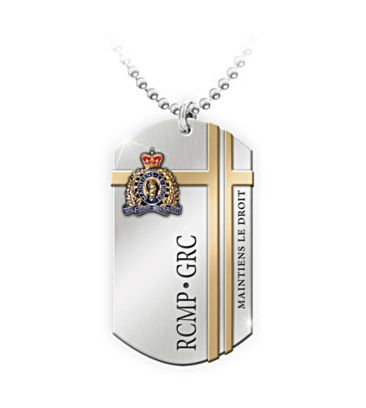 $89.99 No police force in the world can boast the international recognition of the Royal Canadian Mounted Police. Honour the heritage and service of this legendary organization with the RCMP Commemorative Dog Tag. Crafted of stainless steel, the RCMP Commemorative Dog Tag features the current RCMP crest in hand-applied, raised enamel. The luminous 24K-gold plating accentuates the crest, which rests upon an elegant golden design.