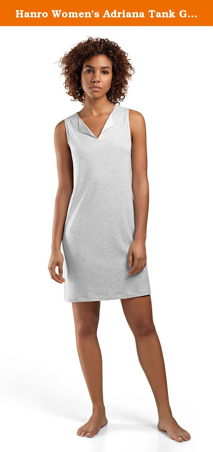 Hanro Women's Adriana Tank Gown 76118, Soft Grey Melange, Medium. The Adriana Tank Gown is tailored from ultra soft cotton-micromodal for a casual look and effortless feel. This modern tank gown features a turned back collar with luxurious silk-elastane detailing for an urban twist on the classic nightgown. Perfect for sleeping and lounging, the Adriana Tank Gown's relaxed silhouette makes for a chic look.50% Cotton, 50% Modal.