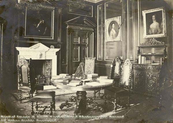 The Red Room at Clifton Hall c1900