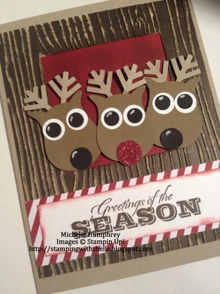 Punch Art Reindeer - SSSC194 by stampingshelle - Cards and Paper Crafts at Splitcoaststampers